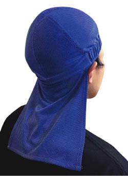 ヘルメットインナー(垂れ付) 着用例(ブルー)